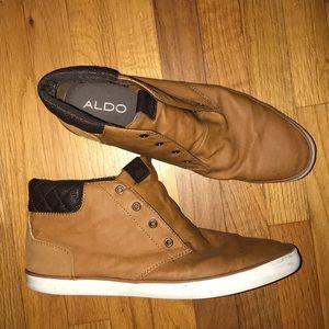 Aldo size 10 men's shoes tan and black